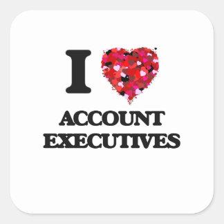 Amo ejecutivos de cuenta pegatina cuadrada