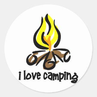 amo el acampar etiqueta redonda