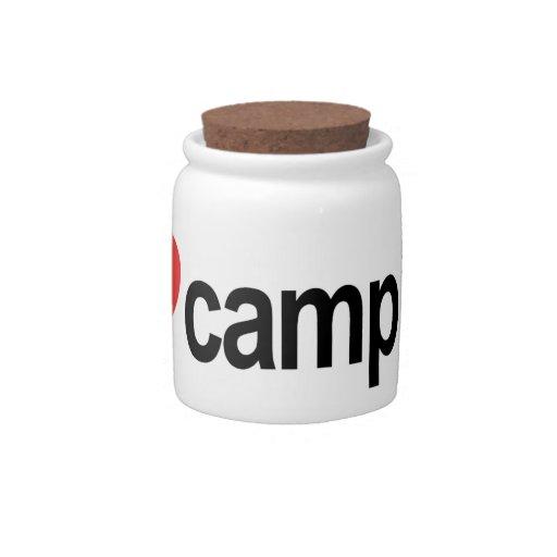 Amo el acampar plato para caramelo