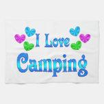 Amo el acampar toallas de mano