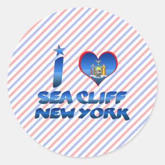 Amo el acantilado del mar, Nueva York Pegatina Redonda