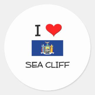 Amo el acantilado Nueva York del mar Pegatina Redonda