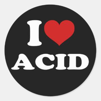 Amo el ácido pegatina redonda