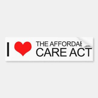 Amo el acto asequible del cuidado etiqueta de parachoque