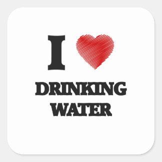 Amo el agua potable pegatina cuadrada