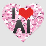 Amo el AI Pegatina En Forma De Corazón