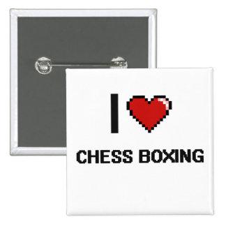 Amo el ajedrez que encajona el diseño retro de chapa cuadrada 5 cm