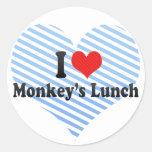 Amo el almuerzo del mono etiquetas