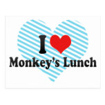 Amo el almuerzo del mono tarjeta postal