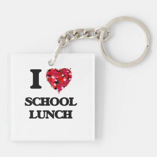 Amo el almuerzo escolar llavero cuadrado acrílico a doble cara
