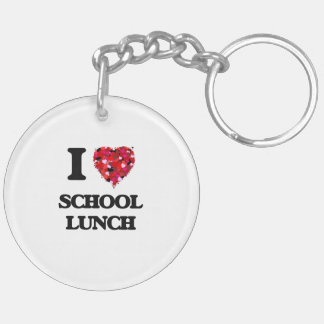 Amo el almuerzo escolar llavero redondo acrílico a doble cara