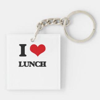 Amo el almuerzo llavero cuadrado acrílico a doble cara