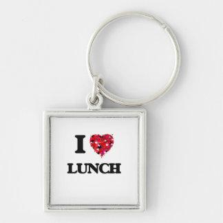 Amo el almuerzo llavero cuadrado plateado