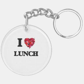 Amo el almuerzo llavero redondo acrílico a doble cara