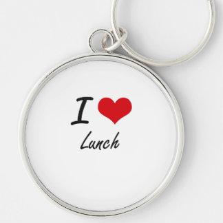 Amo el almuerzo llavero redondo plateado