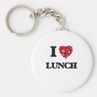 Amo el almuerzo llavero redondo tipo pin