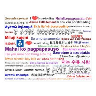 Amo el amamantar de lengua multi postales