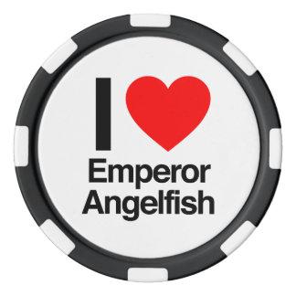 amo el angelfish del emperador fichas de póquer