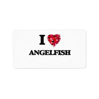 Amo el Angelfish Etiqueta De Dirección