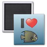 Amo el Angelfish francés Imanes Para Frigoríficos