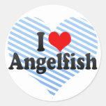Amo el Angelfish Pegatina Redonda