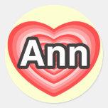 Amo el anuncio. Te amo Ann. Heart Pegatina