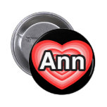 Amo el anuncio. Te amo Ann. Heart Pins