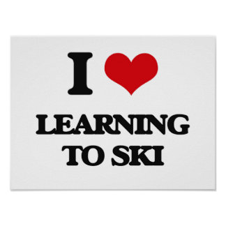 Amo el aprender esquiar póster
