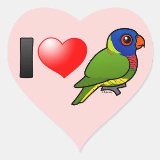 Amo el arco iris Lorikeets Pegatina En Forma De Corazón