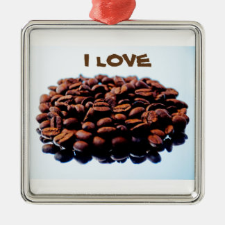 Amo el aroma del café adorno navideño cuadrado de metal