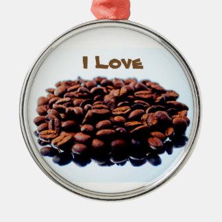 Amo el aroma del café adorno navideño redondo de metal