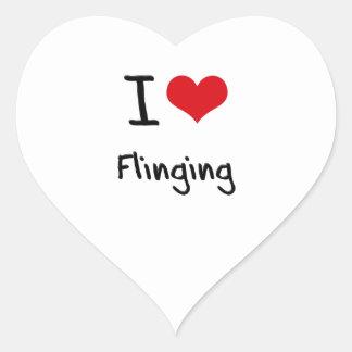 Amo el arrojar pegatina corazón