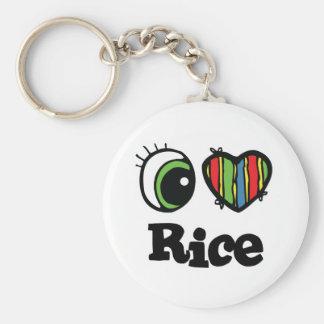 Amo el arroz (del corazón) llavero redondo tipo pin