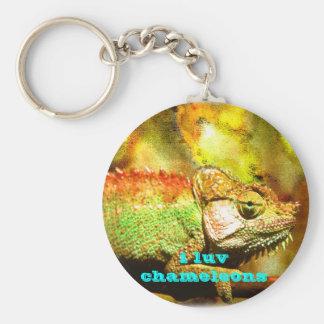 amo el arte de Digitaces de los camaleones Llavero Redondo Tipo Pin