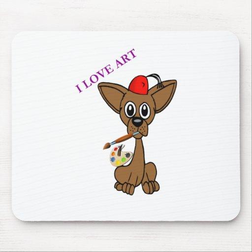 Amo el arte - perro de la chihuahua alfombrilla de ratón