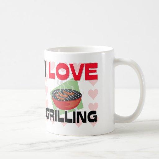 Amo el asar a la parrilla tazas de café