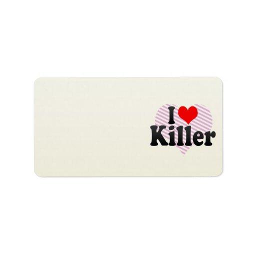 Amo el asesino etiquetas de dirección
