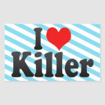 Amo el asesino rectangular pegatinas