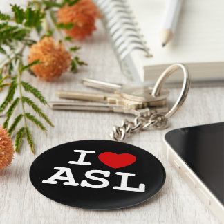 Amo el ASL Llavero