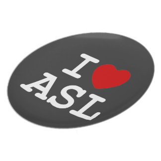 Amo el ASL Platos Para Fiestas