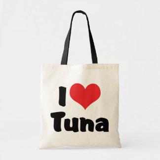 Amo el atún bolsas de mano