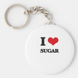 Amo el azúcar llavero redondo tipo chapa