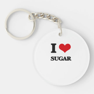 Amo el azúcar llavero redondo acrílico a una cara