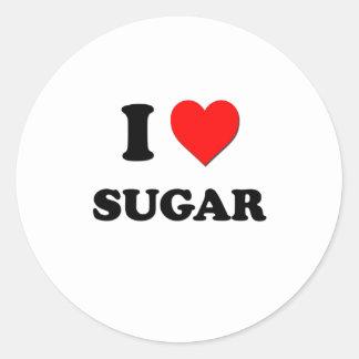 Amo el azúcar pegatina redonda