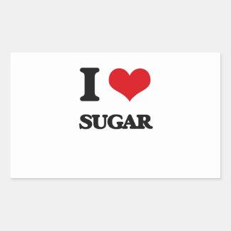 Amo el azúcar pegatina rectangular