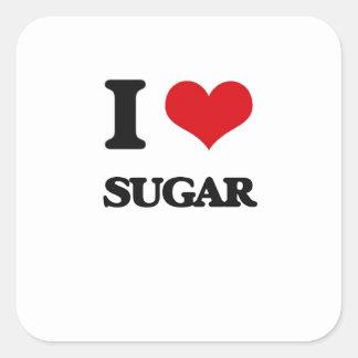 Amo el azúcar pegatina cuadrada