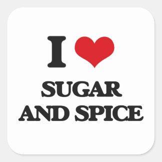 Amo el azúcar y la especia pegatina cuadrada