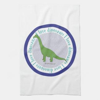 Amo el azul del Brachiosaurus de los dinosaurios Toalla De Mano