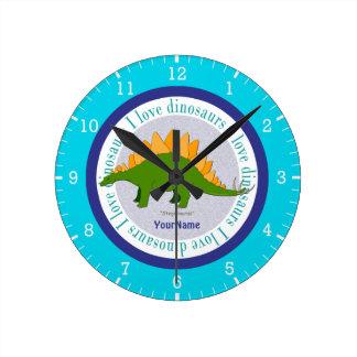 Amo el azul del Stegosaurus de los dinosaurios Reloj Redondo Mediano