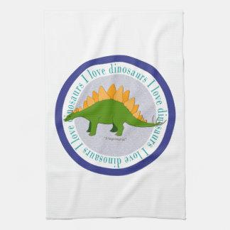 Amo el azul del Stegosaurus de los dinosaurios Toallas De Cocina